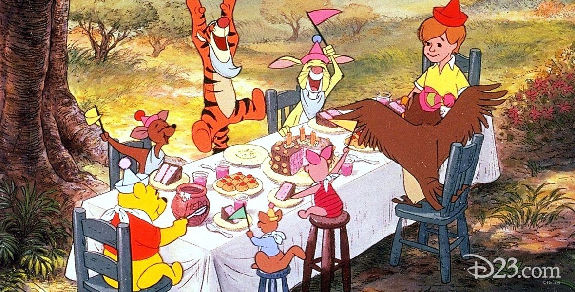 Photo of Winnie the Pooh and Friends having a picnic on a windy day