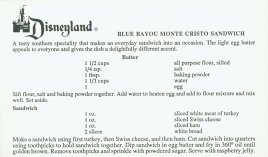 Menu from Blue Bayou, one of Disneyland's signature restaurants