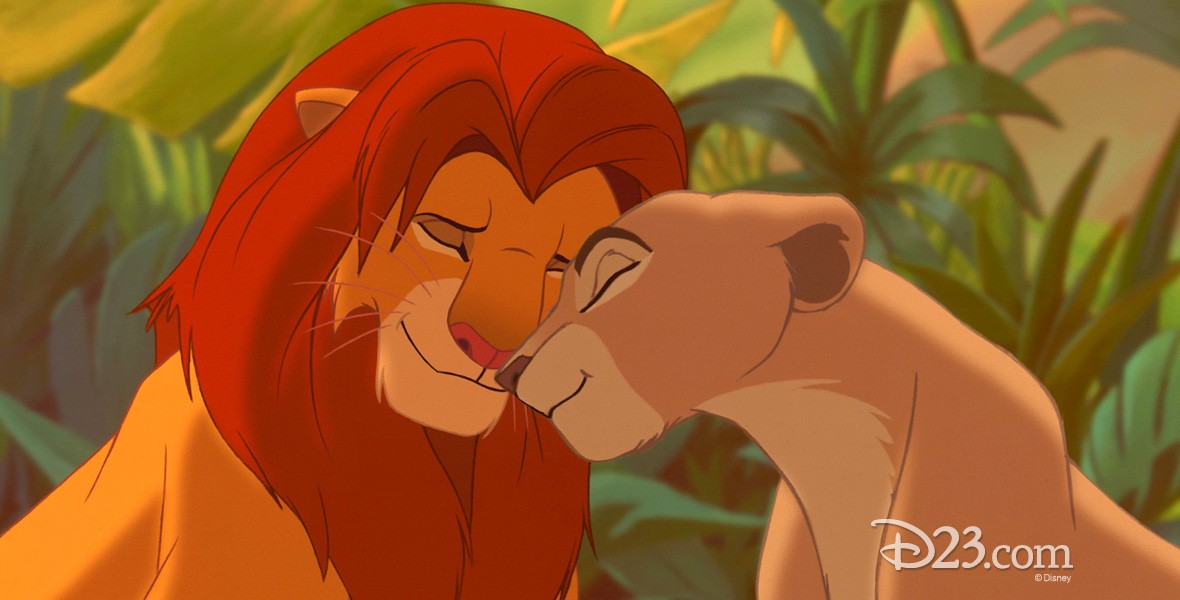 movie frame from Lion King - lion and lioness nuzzling