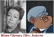 split photo of actress Diana Chesney and the Mrs. Judson character she voiced in the movie, The Great Mouse Detective