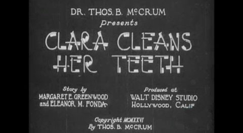 title card from film Clara Cleans Her Teeth