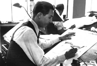 photo of Walt Disney drawing
