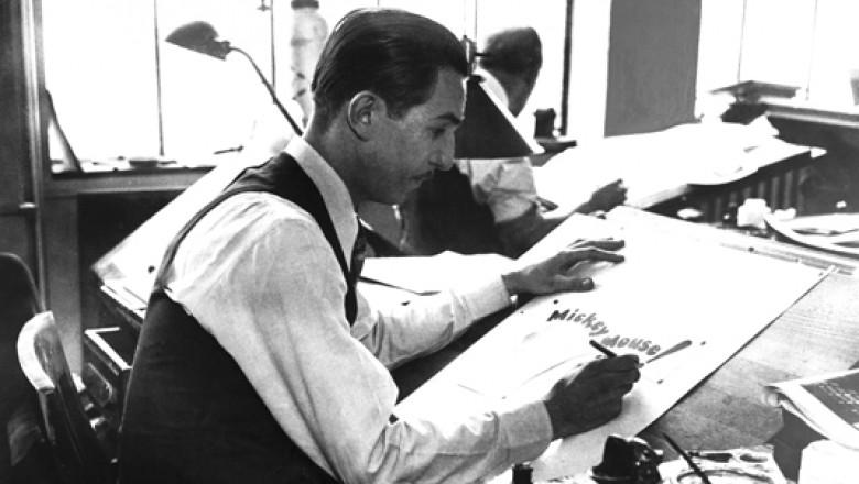 photo of Walt Disney drawing