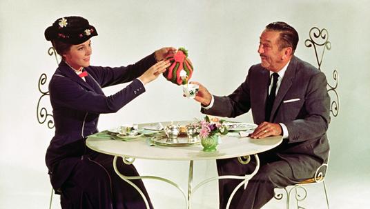 Desktop wallpaper of Walt Disney having tea with Mary Poppins