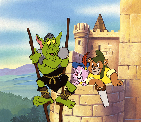 still showing Gummi Bears confronting ogre on stilts at the top of a castle tower
