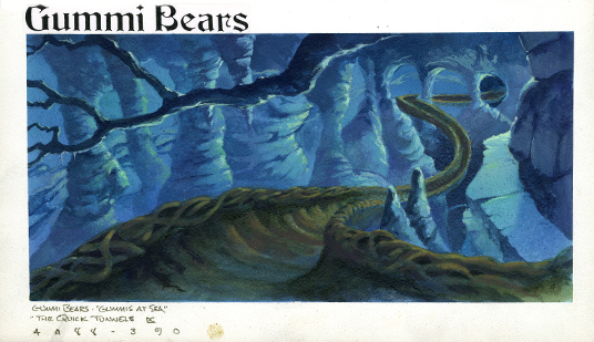 illustrated background art for Gummi Bears animated television show featuring green trough-like pathway looping through underground carverns