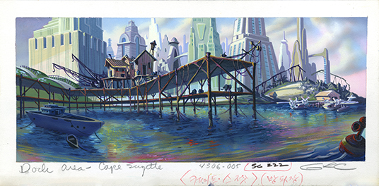 illustrated background art for Cape Suzette from animated TaleSpin showing docks in foreground and city buildings on horizon