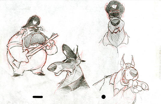 concept art sketches of potential bad guys that Baloo would encounter in TaleSpin