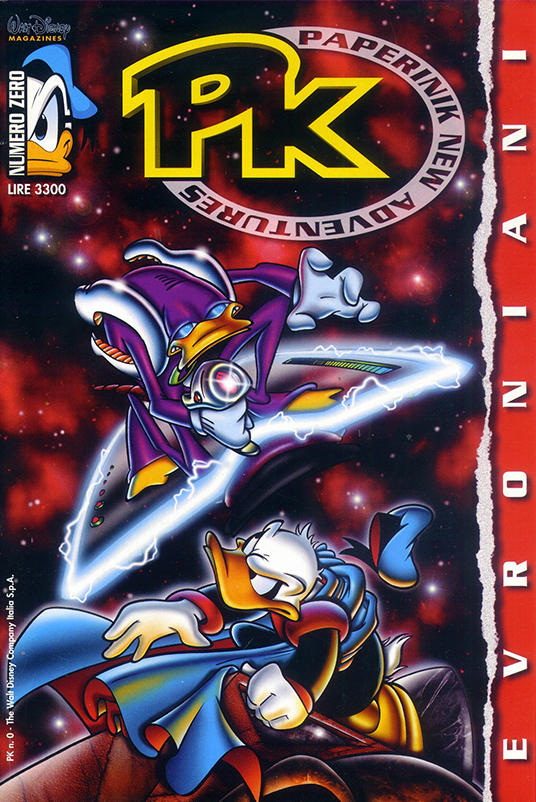Duck Avenger versus the Evronians on the cover of PK: Paperinik New Adventures 00 (1996); art by Marco Ghiglione.