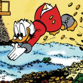 Scrooge McDuck in The Duck With Three Cubic Acres of Cash