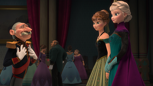 still from animated feature Frozen showing Elsa and Anna at a formal party speaking with an older military man