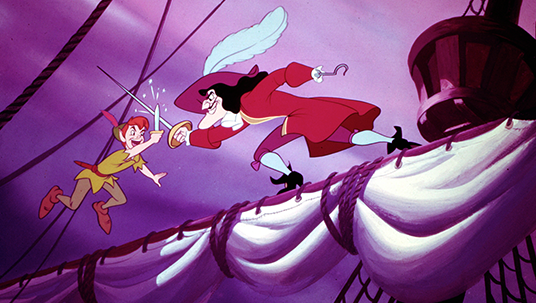 still from animated Peter Pan showing Peter Pan battling Captain Hook while they both balance on the main sail boom