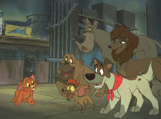 still from animated feature Oliver and Company showing a small cat confronting a pack of five friendly dogs