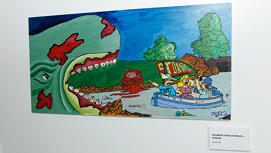 photo of actor Dana Synder's colorful illustration of a zombie whale about to swallow a boatful of tourists inspired by Disneyland's Storybook Land Canal Boats