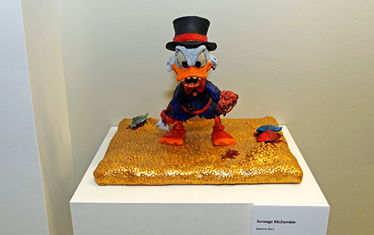 photo of small sculpture of Scrooge McDuck as a zombie