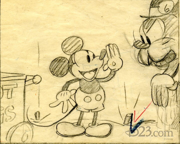 Storyboard sketch of Mickey Mouse and Pete