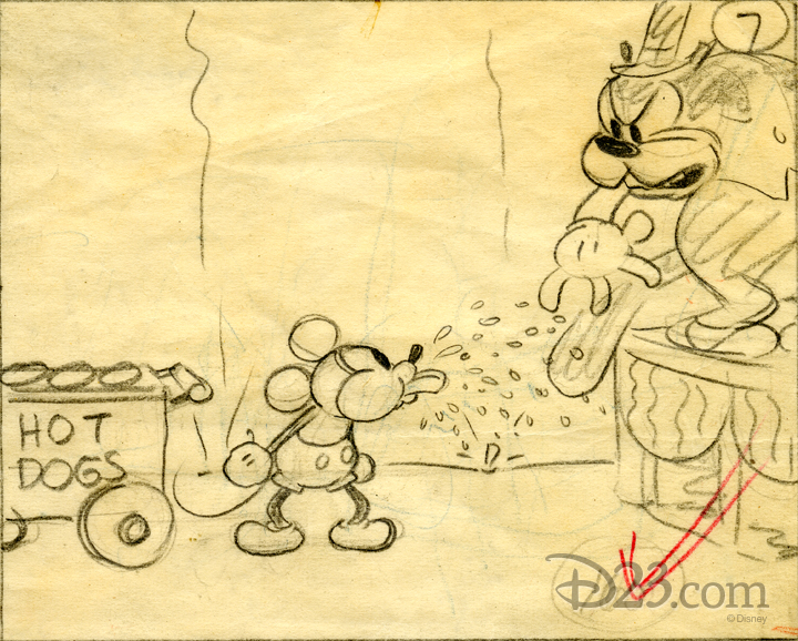 Storyboard sketch of Mickey Mouse taunting his nemesis Pete