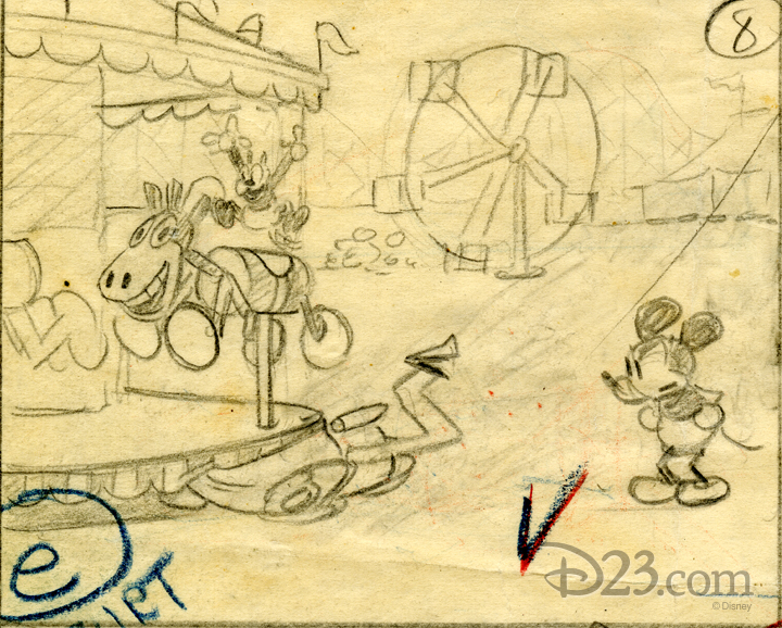Storyboard sketch of Mickey Mouse watching Oswald on a carnival merry go round