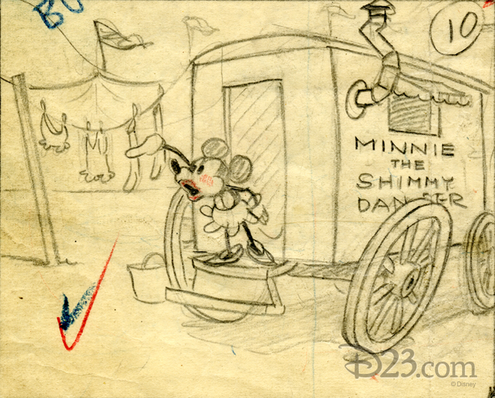 Early storyboard sketches of Minnie Mouse at a carnival