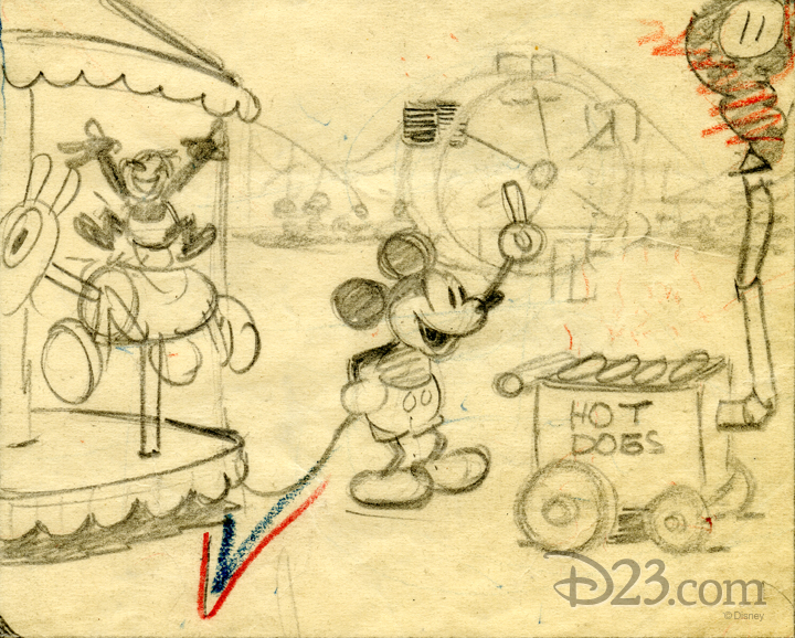 Early storyboard sketches of Mickey Mouse selling hot dogs at a carnival