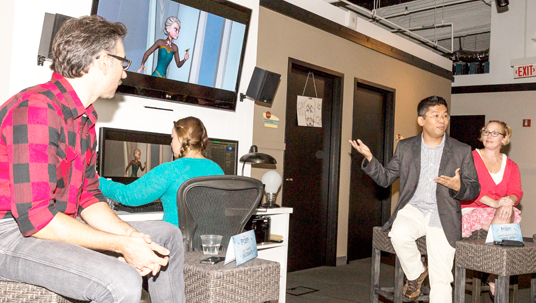 """Elsa's character supervisor Wayne Unten, surrounded by his Frozen colleagues, tells how he brought """"Let it Go"""" to life in the film."""