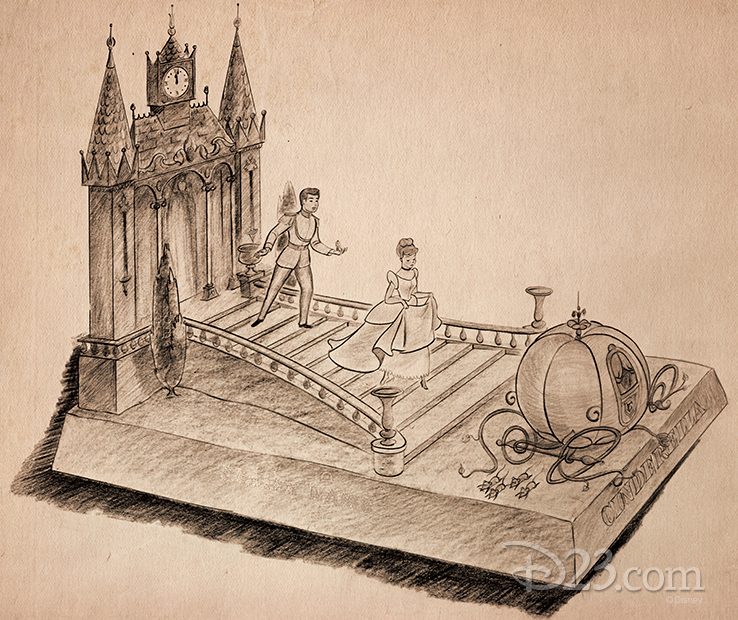 <em>Cinderella</em> concept art for the 1953 parade, designed by Disney Legend and Mouseketeer Roy Williams.