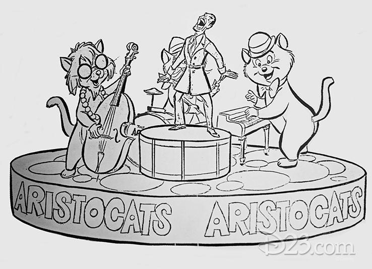 Concept art for the 1954 parade, celebrating <em>The Aristocats</em>.