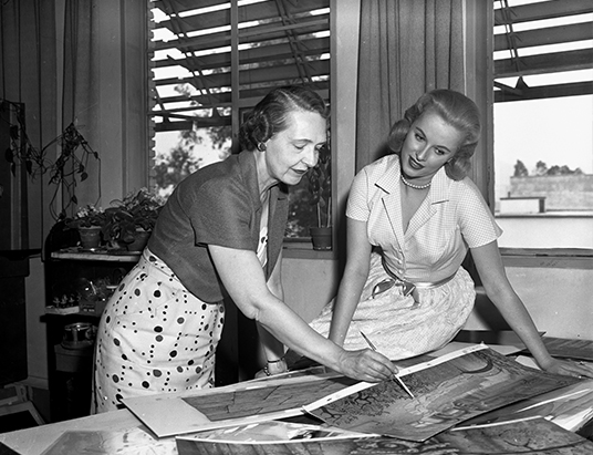 photo of Mary Costa meeting with artist in the old Animation building on the Disney lot