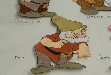 Close up of an animation cel from Snow White and the Seven Dwarfs