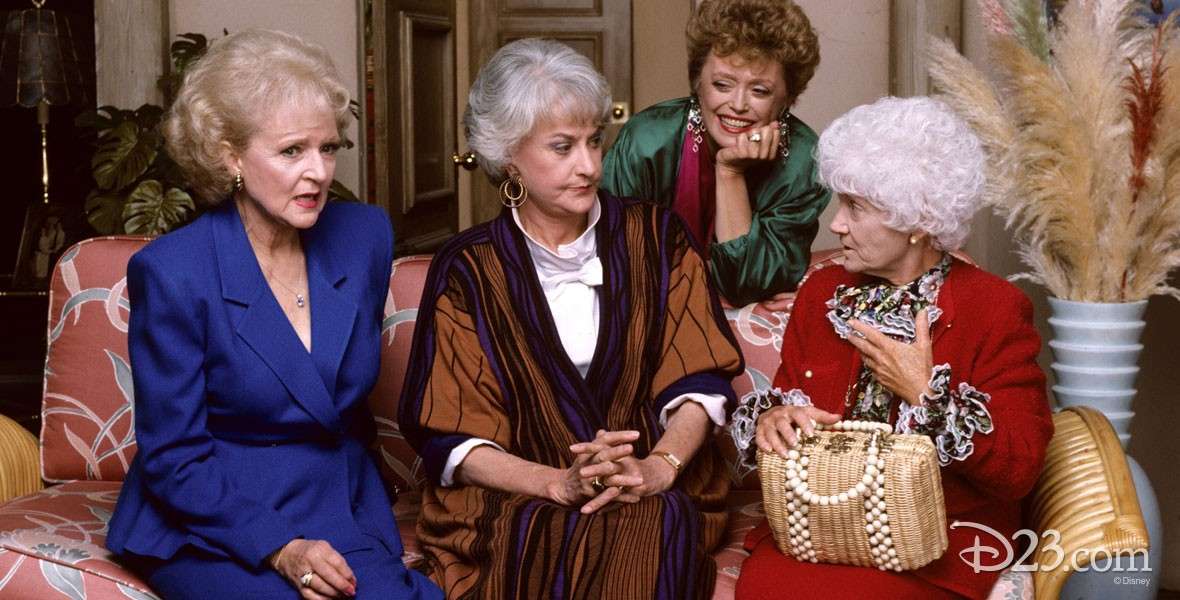 Rue McClanahan (Blanche Devereaux), Betty White (Rose Nyland), Bea Arthur (Dorothy Zbornak), and Estelle Getty (Sophia Petrillo) from The Golden Girls Television series