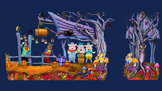 """The Three Little Pigs and Horace join Mickey's Halloween Celebration on their brand new float """"Raise the Rafters!"""""""