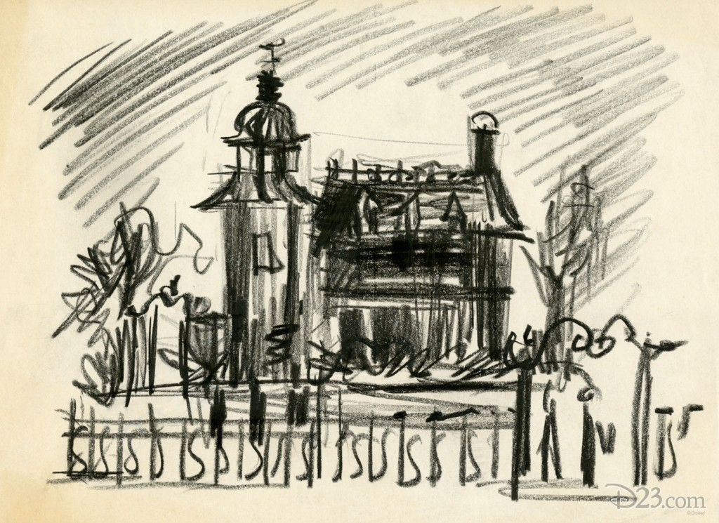 rough charcoal and paper sketch of mansion much like The Haunted Mansion