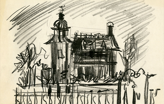charcoal and paper sketch of Haunted Mansion