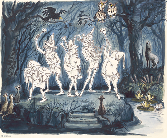 artist's painted rendering by Imagineer and Disney Legend Claude Coats of proposed water ride version of Haunted Mansion, showing meowing cats gathered around four ghostly musicians at the edge of a swamp with frogs, owls, a wolf and a vulture all singing along