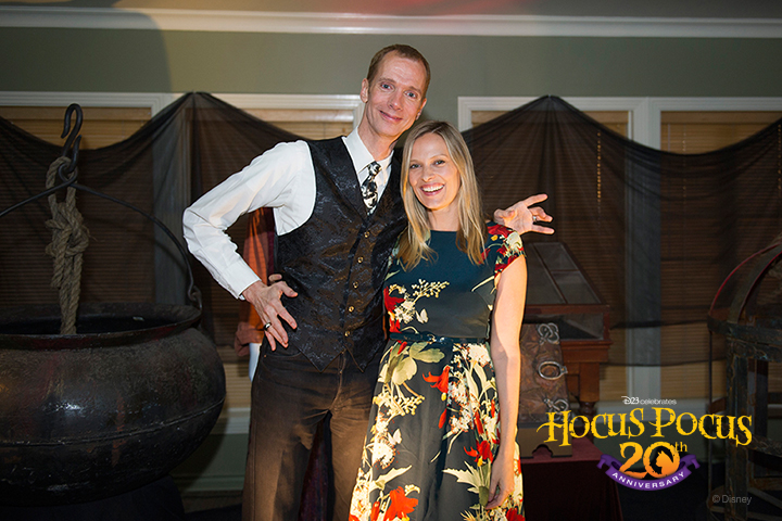 Actor Doug Jones and actress Vinessa Shaw visit the Walt Disney Archives display.