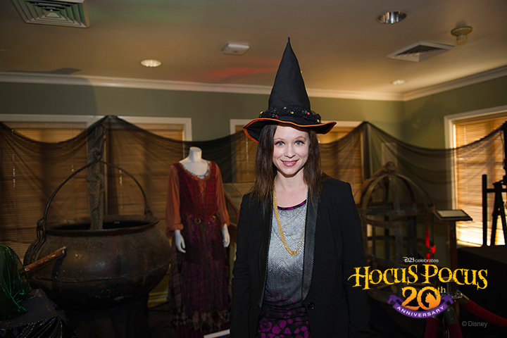 Actress Thora Birch tries on her trick-or-treater costume hat that she wore in the film.