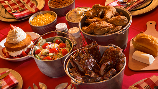 Hoop-Dee-Doo menu of all-you-care-to-eat buckets of ribs and chicken