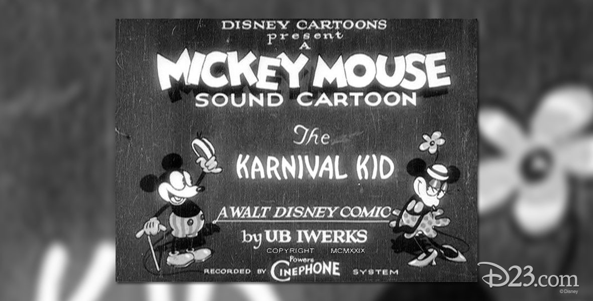 Poster featuring Mickey and Minney in The Karnival Kid, the first Mickey Mouse cartoon in which Mickey speaks