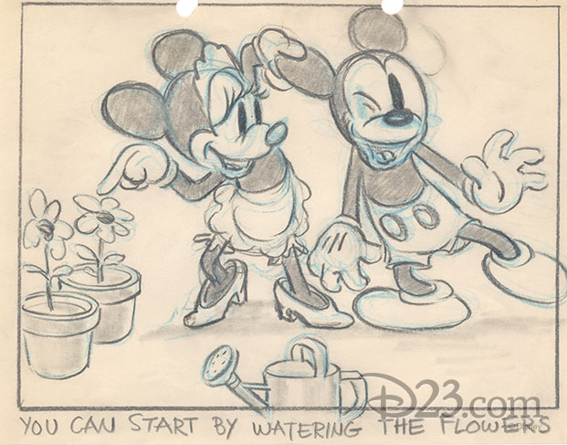 Minnie telling Mickey to water her plants