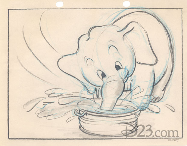 story sketch of Bobo placing his trunk in a bucket of water