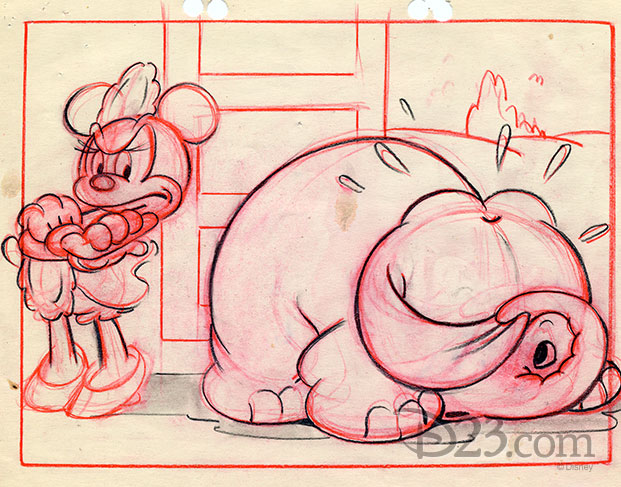 sketch of an angry Minnie scowling at Bobo