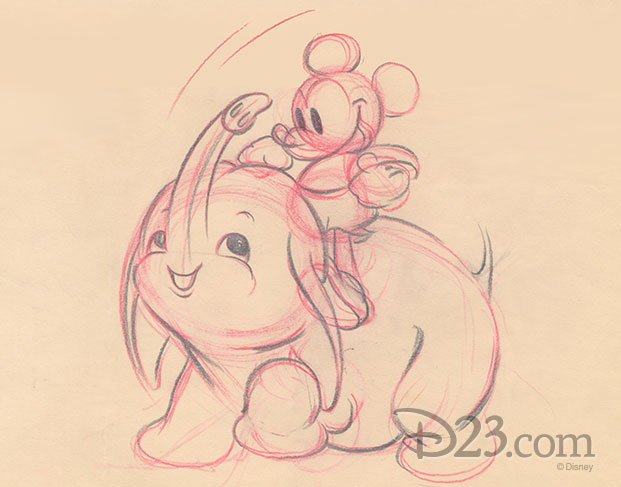 sketch of Mickey Mouse and his pet elephant