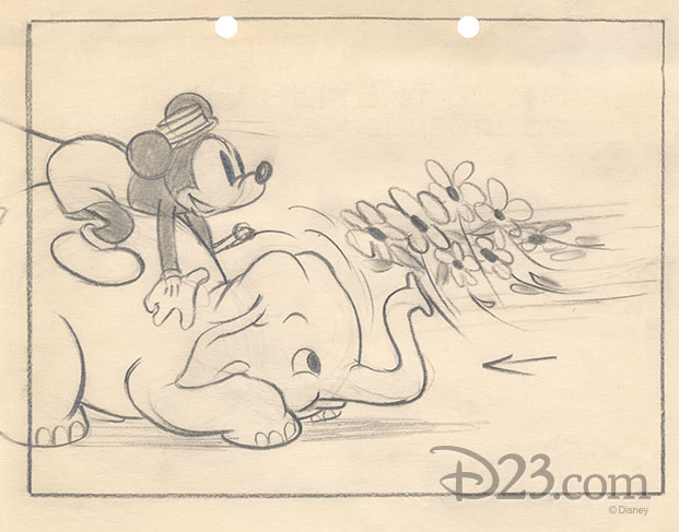 sketch of Bobo catching pretty flowers with his trunk, likely to bring to Minnie.