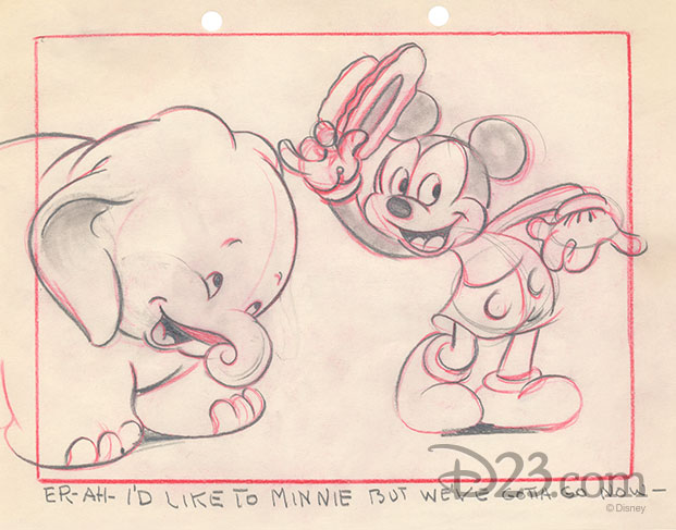 story sketch of Bobo and Mickey politely declining the invitation to clean