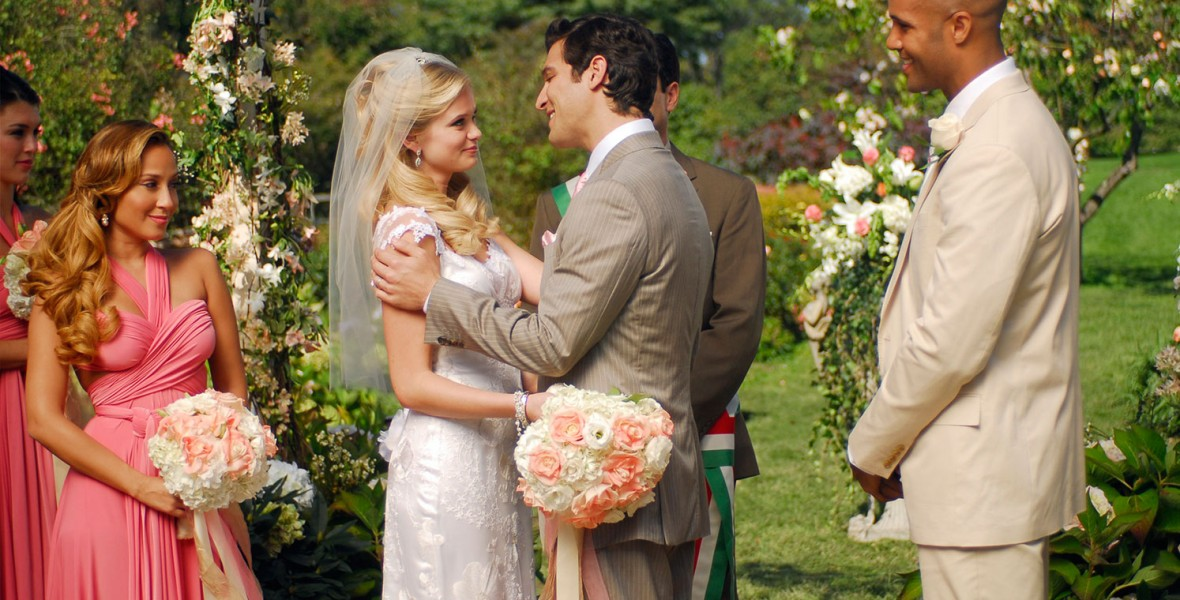 still of outdoor wedding scene from Lovestruck: The Musical television show