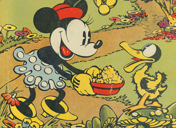 Minnie Mouse feeding a duck