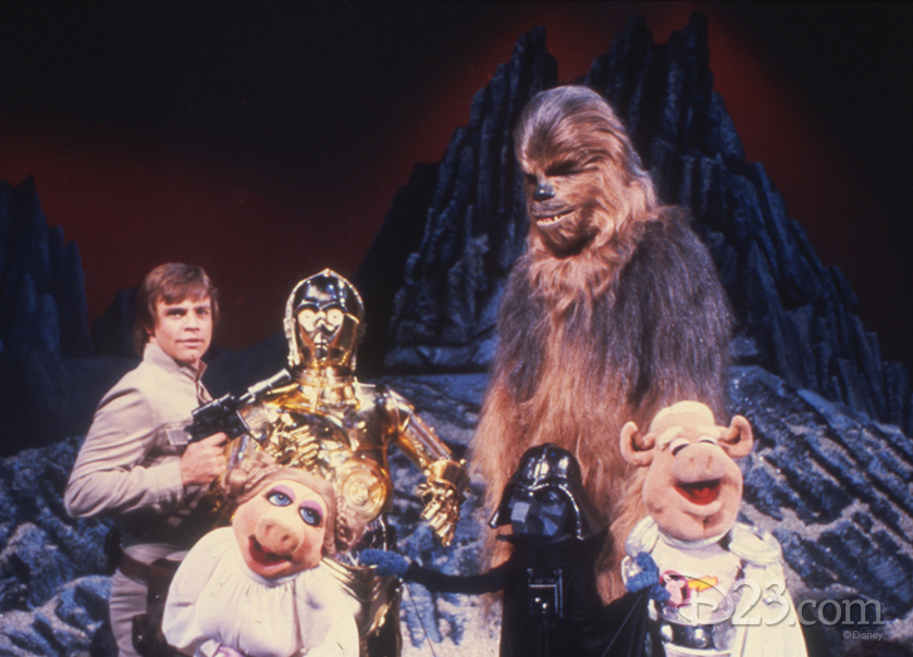 Chewbacca, Miss Piggy and C-3P0 on the set of The Empire Strikes Back with Mark Hamill.
