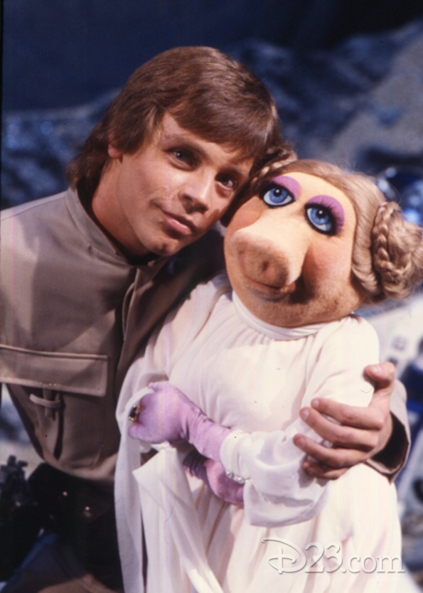 Miss Piggy on the set of The Empire Strikes Back with Mark Hamill.