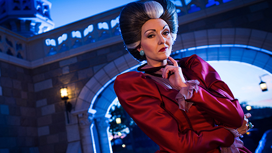 publicity production still from Cinderella featuring Lady Tremaine staring balefully