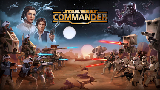 illustrated art for Star Wars Commander free-to-play app for iOS featuring Princess Leia, Han Solo, Darth Vader and various rebel warriors facing off against Imperial Stormtroopers